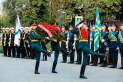 莫斯科,俄罗斯- 2017年9月02日:俄国卫兵的天 库存图片