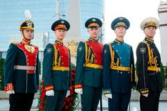 莫斯科,俄罗斯- 2017年9月02日:俄国卫兵的天 免版税库存照片