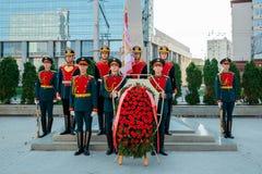 莫斯科,俄罗斯- 2017年9月02日:俄国卫兵的天 免版税图库摄影