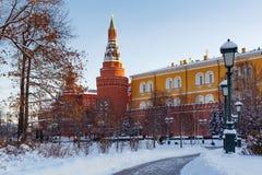 莫斯科,俄罗斯- 2018年2月01日:克里姆林宫塔积雪的树背景的 从Alexandrovsky庭院的看法 图库摄影