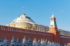 莫斯科,俄罗斯- 2018年2月01日:参议院宫殿大厦参议院塔背景的  克里姆林宫在晴朗的冬天da 免版税图库摄影