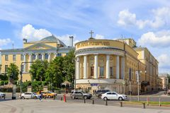 莫斯科,俄罗斯- 2018年6月03日:受难者塔蒂亚娜寺庙罗蒙诺索夫的在Bol ` shaya Nikitskaya街道上的莫斯科国立大学MSU 免版税库存图片