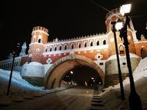 莫斯科,俄罗斯- 2018年12月17日:图桥梁在Tsaritsyno公园在莫斯科在冬天晚上 库存图片