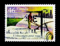 莫斯科,俄罗斯- 2017年11月24日:在加拿大打印的邮票嘘 免版税库存图片