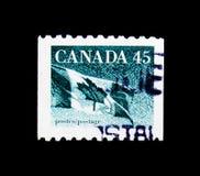 莫斯科,俄罗斯- 2017年11月24日:在加拿大打印的邮票嘘 免版税库存照片