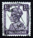 莫斯科,俄罗斯- 2017年4月2日:在印度打印的岗位邮票嘘 免版税库存照片