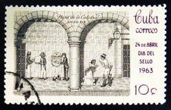 莫斯科,俄罗斯- 2017年7月15日:在古巴展示打印的罕见的邮票 库存照片