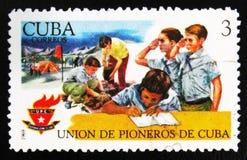 莫斯科,俄罗斯- 2017年7月15日:在古巴展示打印的罕见的邮票 图库摄影