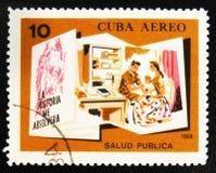 莫斯科,俄罗斯- 2017年7月15日:在古巴展示打印的邮票 免版税图库摄影