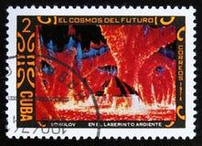 莫斯科,俄罗斯- 2017年7月15日:在古巴打印的邮票显示fu 图库摄影