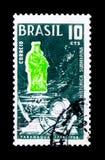 莫斯科,俄罗斯- 2017年11月23日:在巴西打印的邮票嘘 库存照片