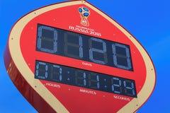 莫斯科,俄罗斯- 2018年2月14日:在开始的读秒定时器冠军世界杯足球赛Manezhnaya的俄罗斯之前2018年 图库摄影