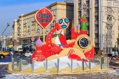 莫斯科,俄罗斯- 2018年2月14日:在开始的读秒定时器冠军世界杯足球赛Manezhnaya的俄罗斯之前2018年 库存图片