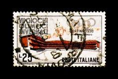 莫斯科,俄罗斯- 2017年11月24日:在意大利sho打印的邮票 库存图片