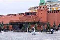 莫斯科,俄罗斯- 2016年10月06日:在红场的列宁` s陵墓列宁` s坟茔 免版税库存图片