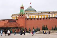 莫斯科,俄罗斯- 2016年10月06日:在红场的列宁` s陵墓列宁` s坟茔 免版税库存照片