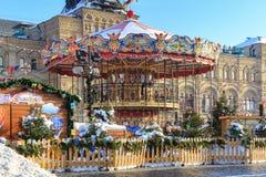 莫斯科,俄罗斯- 2018年2月14日:在红场的娱乐吸引力在莫斯科在圣诞节假日 免版税库存照片