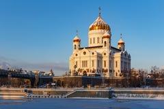 莫斯科,俄罗斯- 2018年2月01日:基督大教堂救主在莫斯科 从Bersenevskaya堤防的看法 免版税库存图片