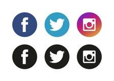 莫斯科,俄罗斯- 2017年6月20日:套普遍的社会媒介商标 向量例证