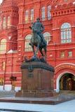 莫斯科,俄罗斯- 2018年4月15日:安排Manege广场的格奥尔基・康斯坦丁诺维奇・朱可夫的纪念碑在莫斯科 图库摄影