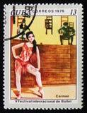 莫斯科,俄罗斯- 2017年4月2日:岗位邮票在古巴, de打印了 免版税库存图片