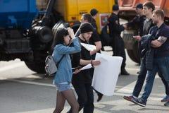 莫斯科,俄罗斯- 2018年4月30日:抗议者在萨哈罗夫大道把集会留在反对阻拦电报app在俄罗斯 免版税库存图片