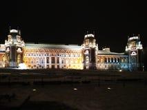 莫斯科,俄罗斯- 2018年12月17日:有轻的装饰的盛大宫殿在Tsaritsyno公园在莫斯科冬天晚上 免版税库存照片