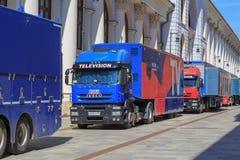 莫斯科,俄罗斯- 2018年6月03日:流动电视演播室卡车联邦渠道在历史的购物和商业中心附近的俄罗斯1 免版税库存照片