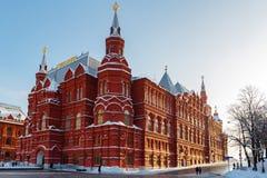 莫斯科,俄罗斯- 2018年2月01日:状态历史博物馆的大厦红场的 莫斯科冬天 免版税库存图片