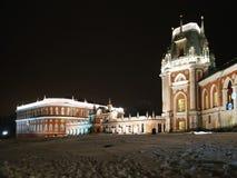 莫斯科,俄罗斯- 2018年12月17日:盛大宫殿在Tsaritsyno公园在莫斯科在冬天晚上 免版税图库摄影
