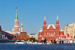莫斯科,俄罗斯- 2018年2月01日:红场在莫斯科冬天 状态历史博物馆的看法 免版税库存照片