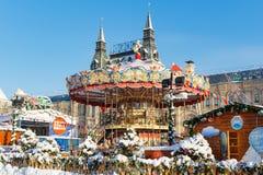 莫斯科,俄罗斯- 2018年2月01日:红场的游乐园 莫斯科冬天 库存照片