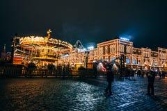 莫斯科,俄罗斯- 2016年12月23日:红场的游人在莫斯科在新年的前夕 库存照片