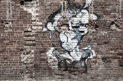 莫斯科,俄罗斯2017年9月02日:美妙的妇女-街道艺术街道画 库存图片
