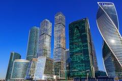 莫斯科,俄罗斯- 2018年4月14日:莫斯科国际商业中心莫斯科城市在一个晴朗的春日 库存照片
