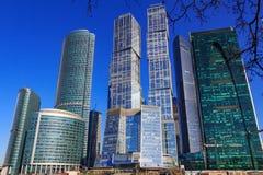 莫斯科,俄罗斯- 2018年4月14日:莫斯科国际商业中心莫斯科城市在一个晴朗的春日 免版税库存照片