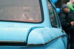 莫斯科,俄罗斯- 2016年4月16日:葡萄酒苏联汽车, Mosgortrans Zaporozhets ZAZ-966陈列  免版税库存图片