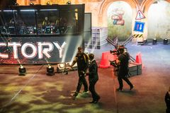 莫斯科,俄罗斯- 2018年10月27日:震中柜台罢工:全球性进攻esports事件 在a的Danylo宙斯捷斯连科 免版税图库摄影