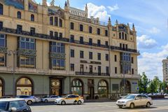 莫斯科,俄罗斯- 2018年6月03日:Metropol旅馆门面在莫斯科在一个晴朗的夏天早晨 库存图片
