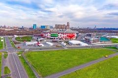 莫斯科,俄罗斯- 2018年4月24日:Spartak体育场Otkritie竞技场鸟瞰图  现代Spartak美好的全景  图库摄影