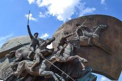 莫斯科,俄罗斯- 2018年7月11日 Poklonnaya Gora 乔治杀害纪念碑蛇st斯德哥尔摩战胜的瑞典 库存图片