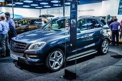 莫斯科,俄罗斯- 2012年8月:当全球首演M-CLASS W166被提出的奔驰车在第16辆MIAS莫斯科国际性组织汽车 免版税库存照片