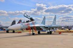 莫斯科,俄罗斯- 2015年8月:战机Su30侧面部队C pres 免版税库存照片