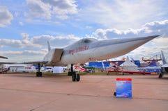 莫斯科,俄罗斯- 2015年8月:战略罢工轰炸机Tu22M Backfi 免版税库存照片