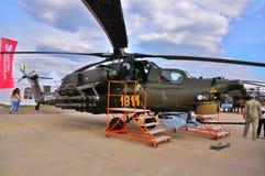 莫斯科,俄罗斯- 2015年8月:攻击用直升机Mi28浩劫礼物 免版税库存图片