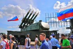 莫斯科,俄罗斯- 2015年8月:Buk M2 SA-17北美灰熊当前在 免版税库存照片
