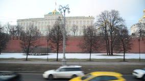 莫斯科,俄罗斯- 2月21 2016年 克里姆林宫看法从堤防的 股票录像