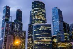 莫斯科,俄罗斯- 2016年7月 商务中心城市莫斯科摩天大楼 图库摄影