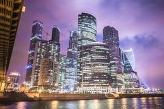 莫斯科,俄罗斯- 2016年7月 商务中心城市莫斯科摩天大楼 免版税库存照片