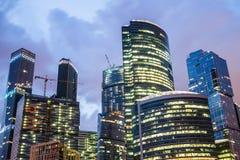 莫斯科,俄罗斯- 2016年7月 商务中心城市莫斯科摩天大楼 库存照片
